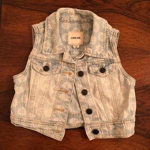 Size 4/5 Girls Denim Vest with Daisy Detail
